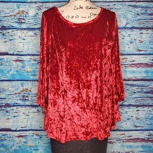 Westport Christmas Red Crushed Velvet Top Size 3X